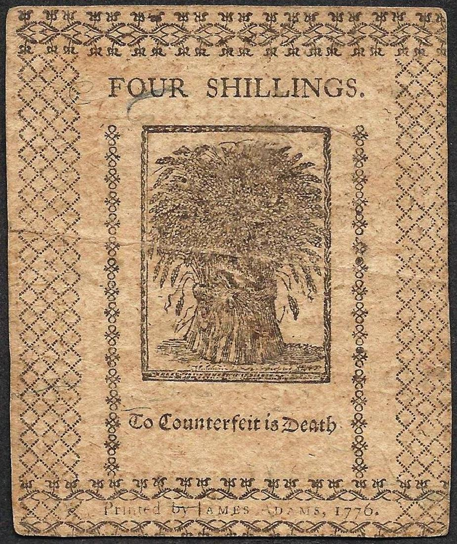 January 1, 1776 Four Shillings Delaware Colonial - 2