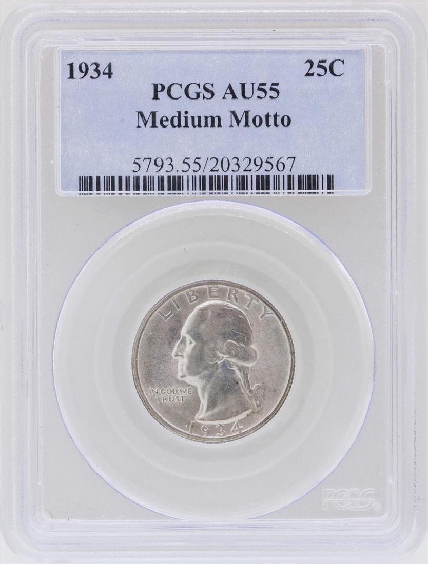 1934 Washington Quarter Silver Coin PCGS AU55 Medium
