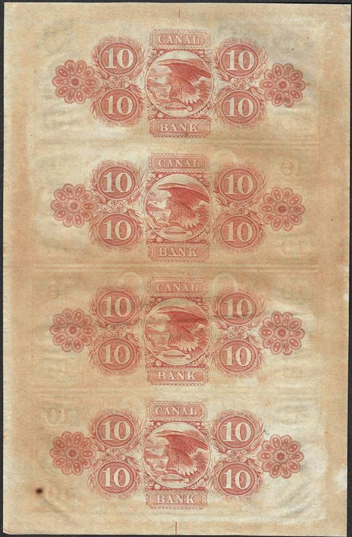 Uncut Sheet of 1800's $10 Canal Bank Obsolete Notes - 2