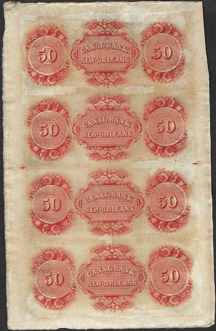 Uncut Sheet of 1800's $50 Canal Bank Obsolete Notes - 2