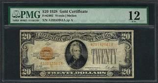 1928 $20 Gold Certificate Note Fr.2402 PMG Fine 12