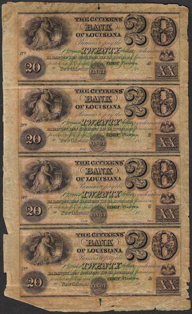 Uncut Sheet of 1800's $20 Citizens Bank of Louisiana