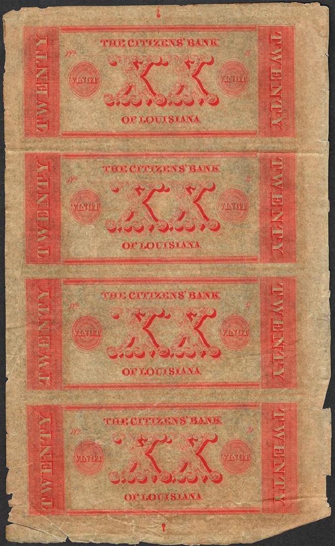 Uncut Sheet of 1800's $20 Citizens Bank of Louisiana - 2