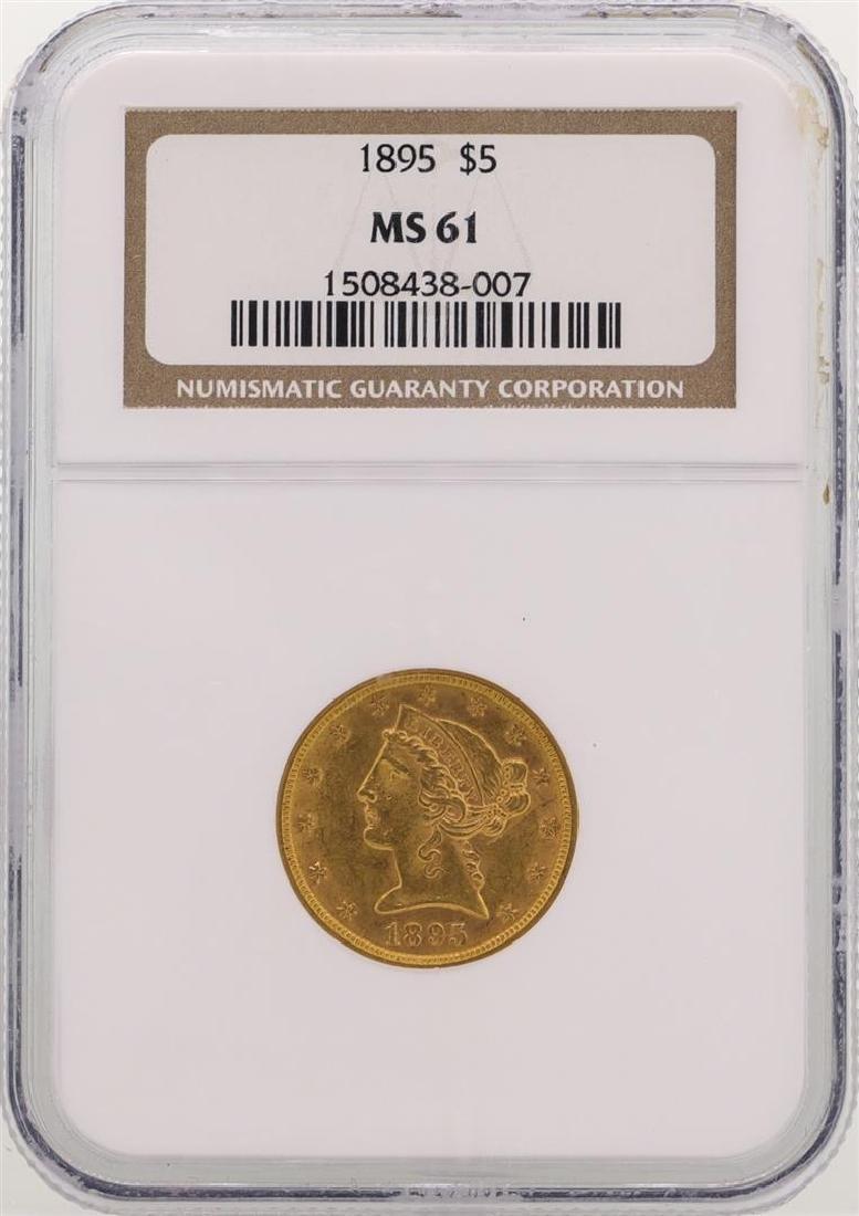 1895 $5 Liberty Head Half Eagle Gold Coin NGC MS61