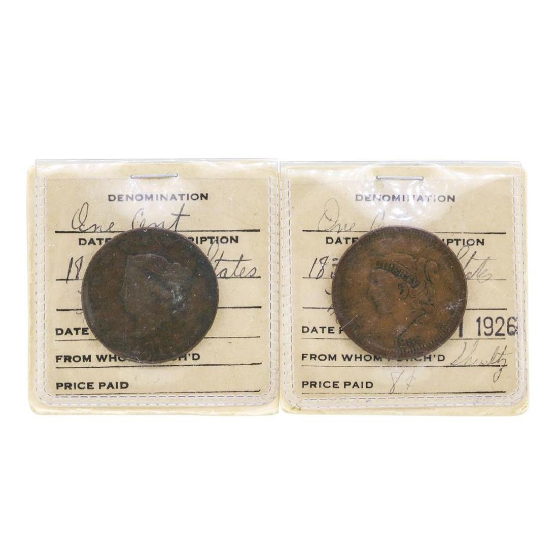 Lot of 1818 & 1838 Large One Cent Coins in Old Flip