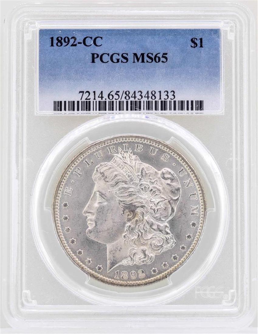 1892-CC $1 Morgan Silver Dollar Coin PCGS MS65