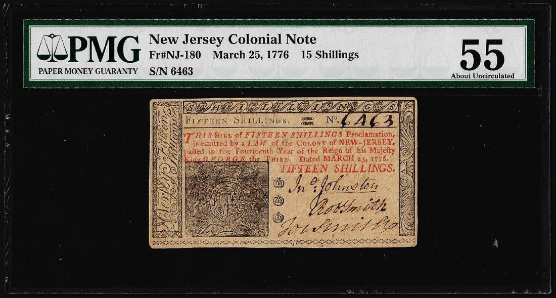 March 25, 1776 New Jersey 15 Shillings Colonial Note