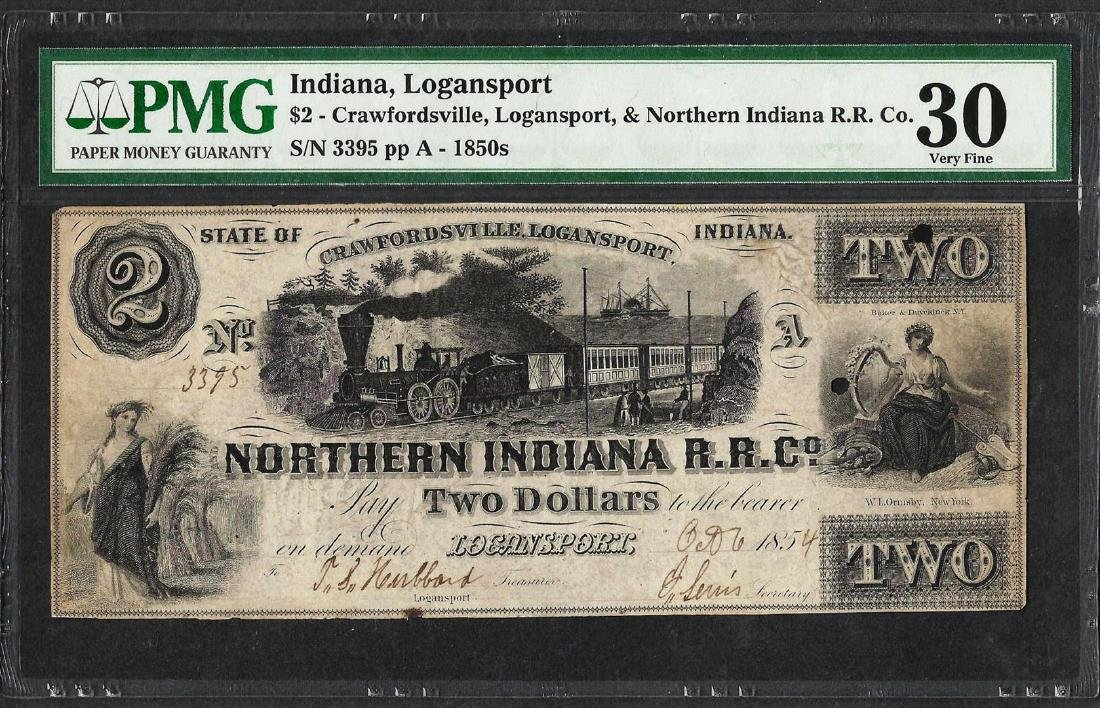 1850's $2 Northern Indiana Railroad Co. Logansport