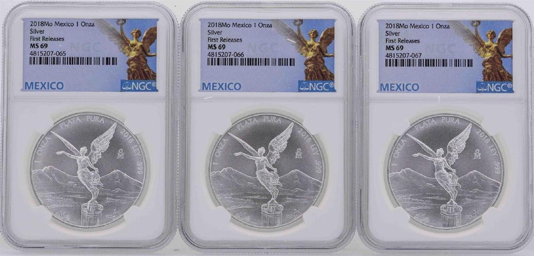 Lot of (3) 2018MO Mexico 1 Oz First Releases Silver