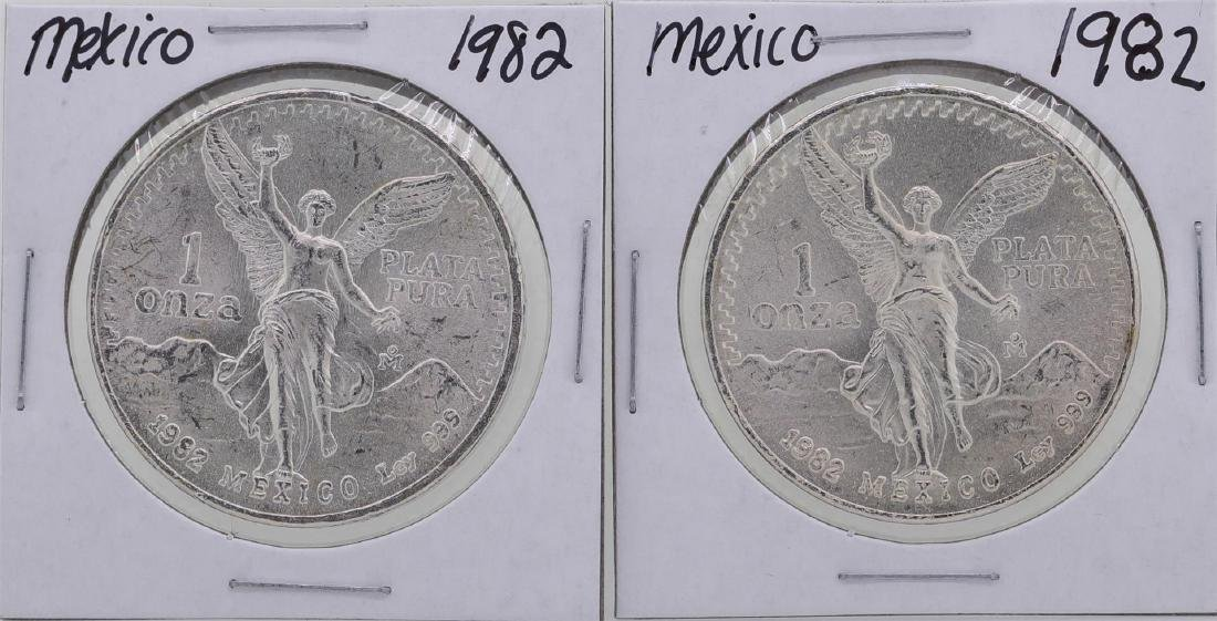 Lot of (2) 1982 Mexico 1 Oz Liberated Silver Coins