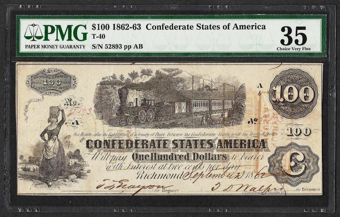 1862-63 $100 Confederate States of America Note T-40