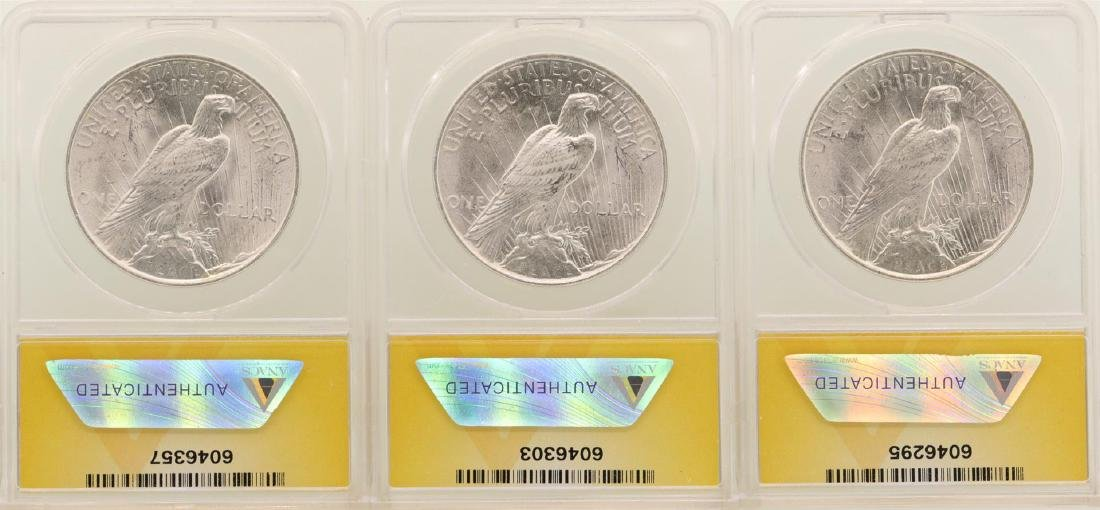 Lot of (3) 1923 $1 Peace Silver Dollar Coins ANACS MS64 - 2