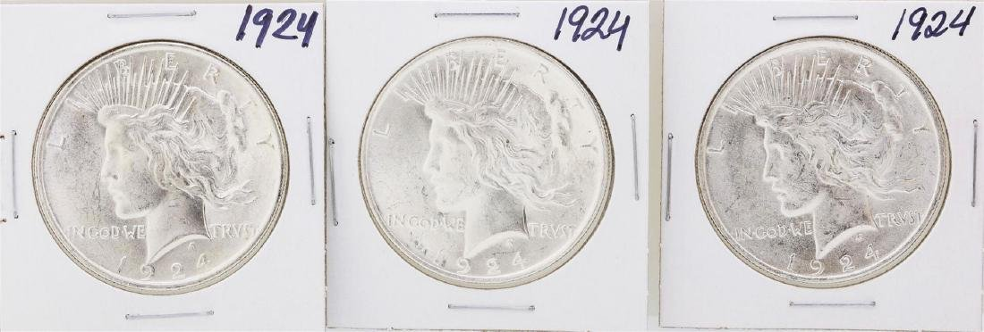 Lot of (3) 1924 $1 Peace Silver Dollar Coins