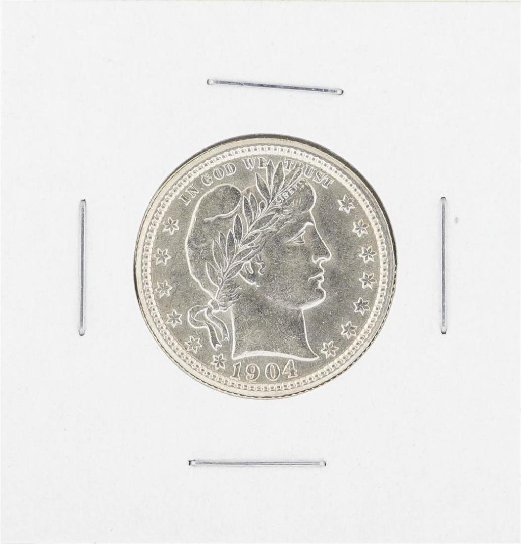 1904 Barber Quarter Silver Coin
