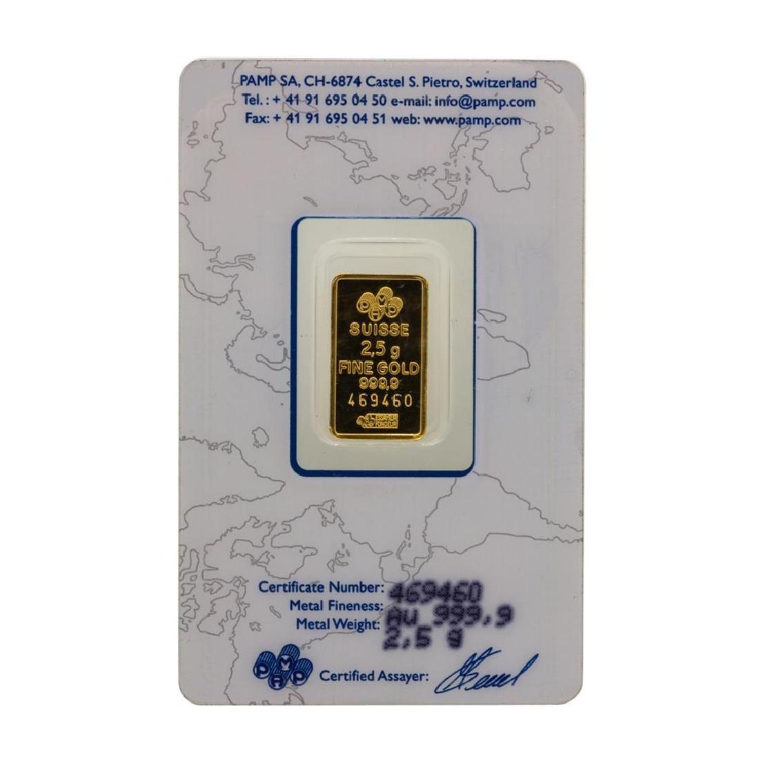 Suisse 2.5 Gram Fine Gold Pamp Gold Bar - 2