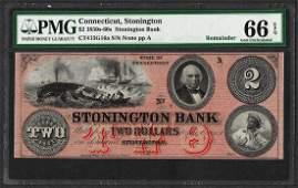 1850s60s 2 Stonington Bank Connecticut Obsolete Note