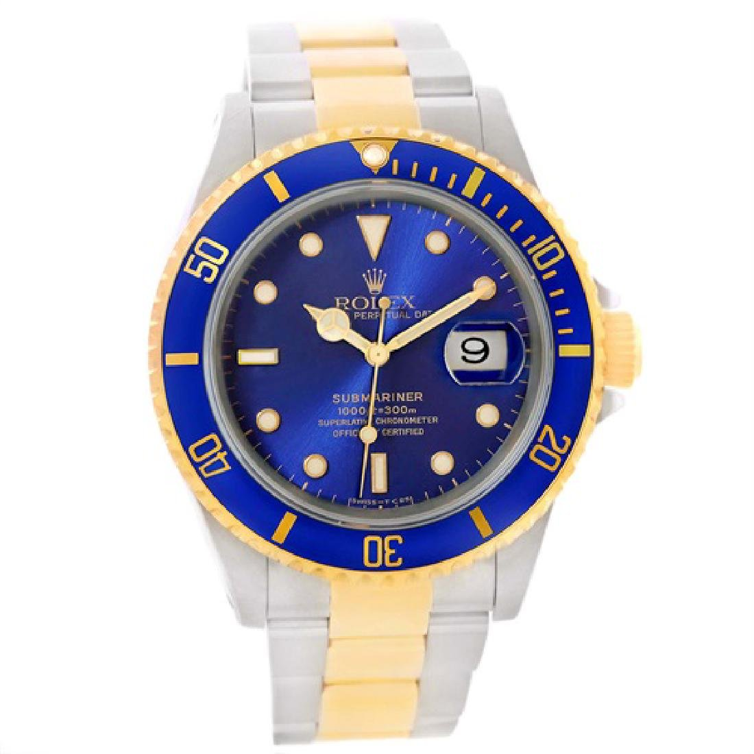 Rolex Submariner Steel Blue Dial 18K Yellow Gold Mens