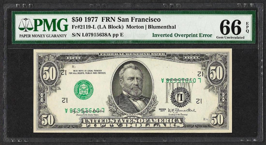 1977 $50 Federal Reserve Note ERROR Inverted Overprint