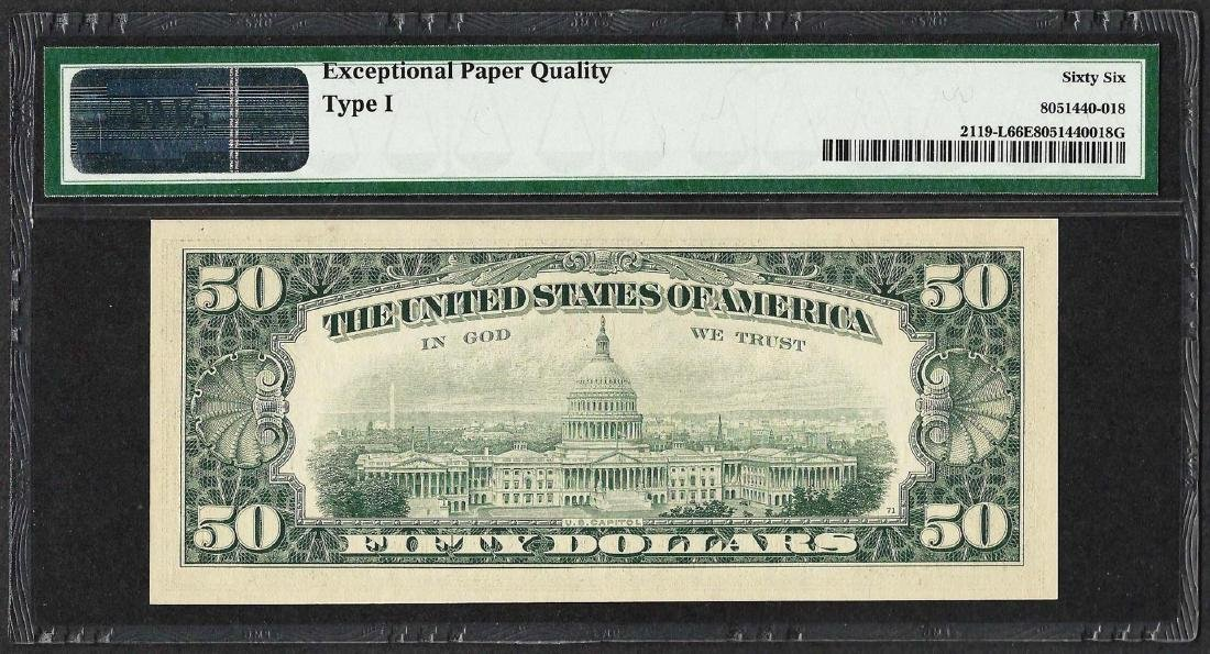 1977 $50 Federal Reserve Note ERROR Inverted Overprint - 2