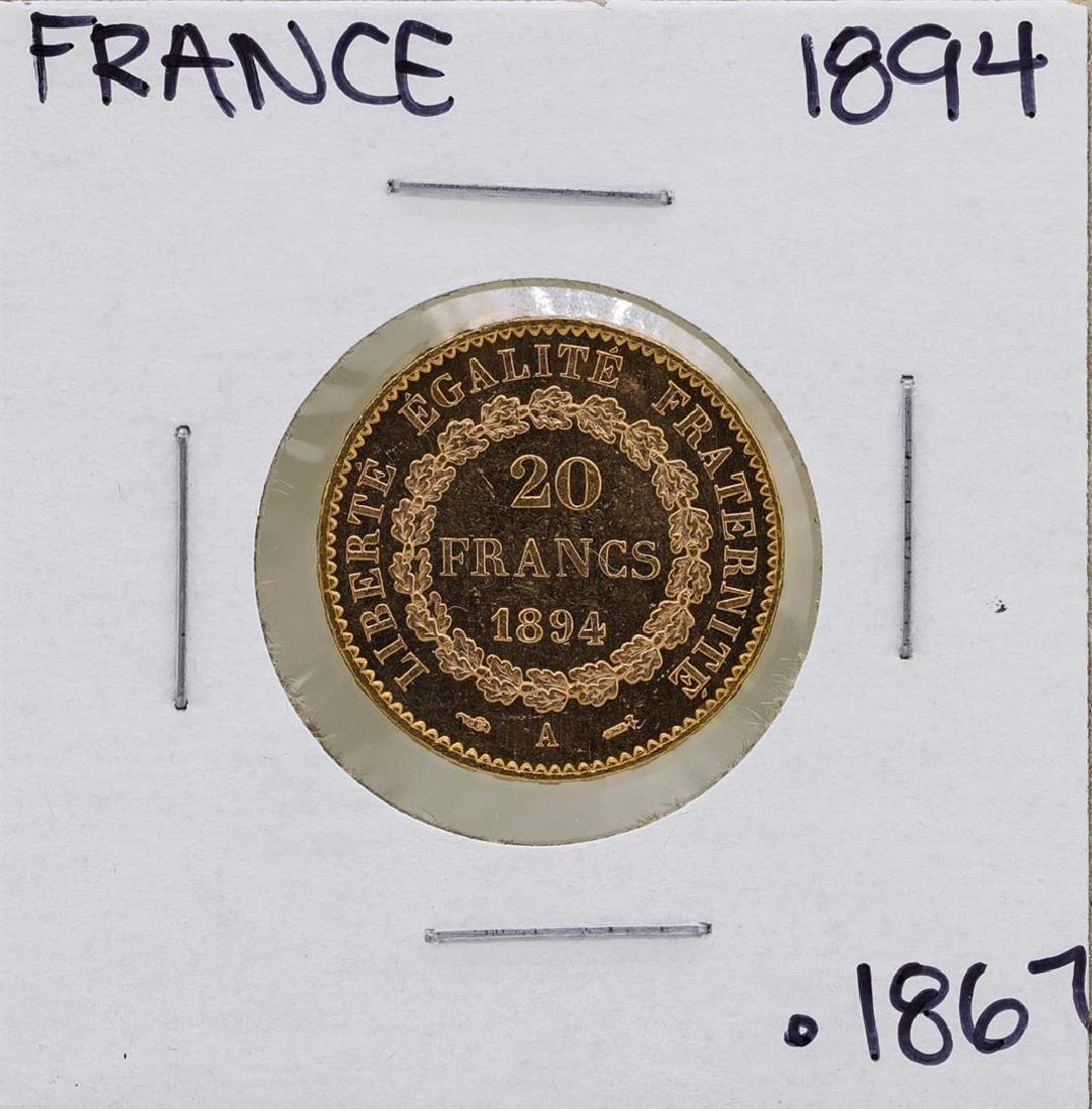 1894A France 20 Francs Gold Angel Coin - 2