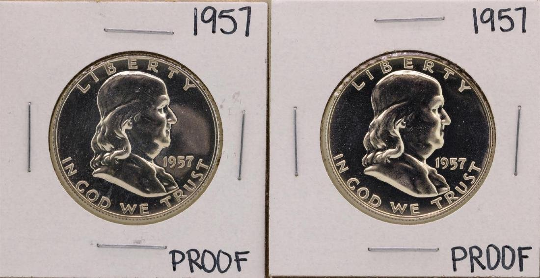 Lot of (2) 1957 Franklin Half Dollar Proof Coins