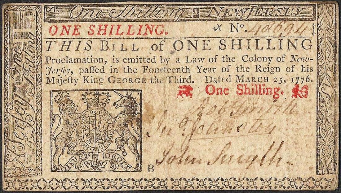 March 25, 1776 New Jersey One Shillings Colonial