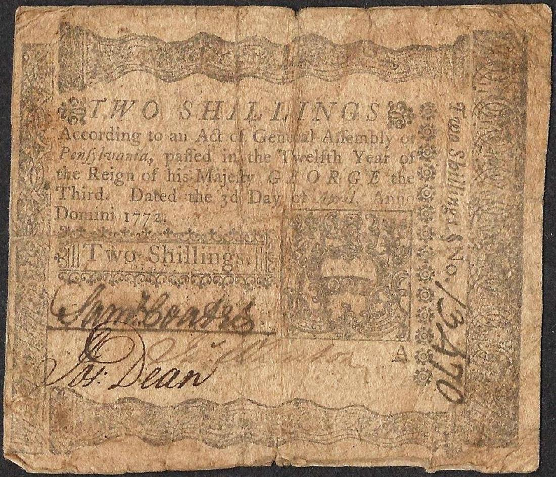 April 3, 1772 Pennsylvania Two Shillings Colonial