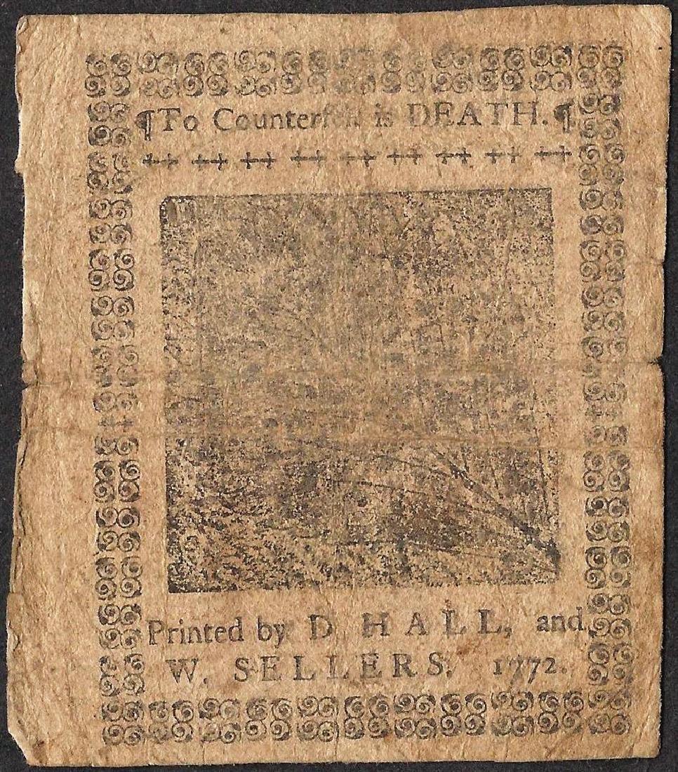 April 3, 1772 Pennsylvania Two Shillings Colonial - 2