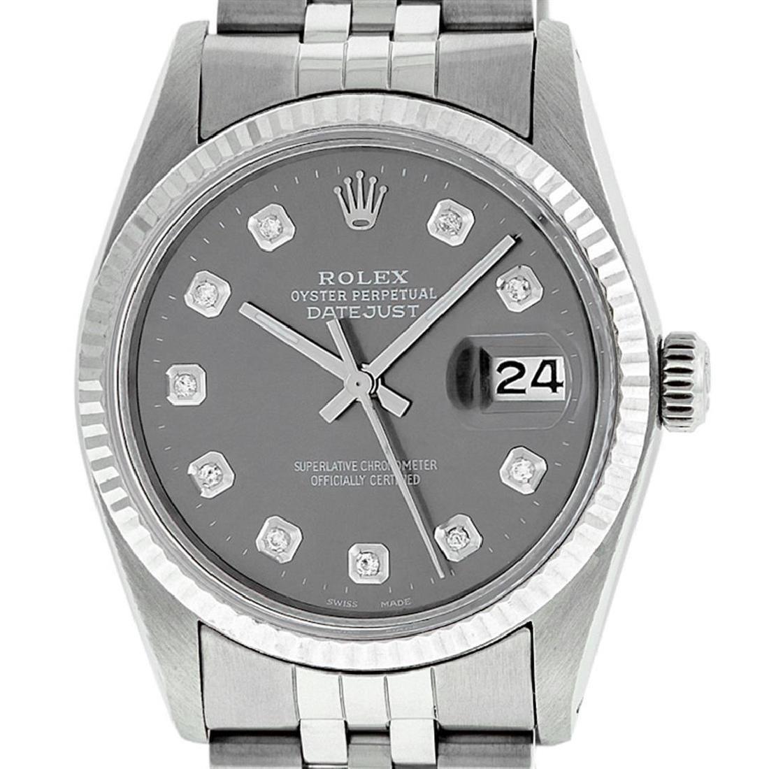 Rolex Men's Stainless Steel Slate Grey Diamond 36MM