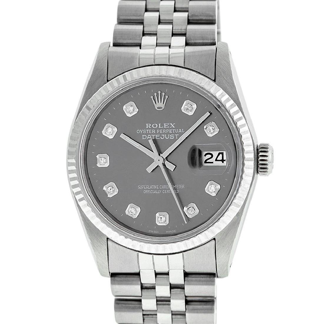 Rolex Men's Stainless Steel Slate Grey Diamond 36MM - 2