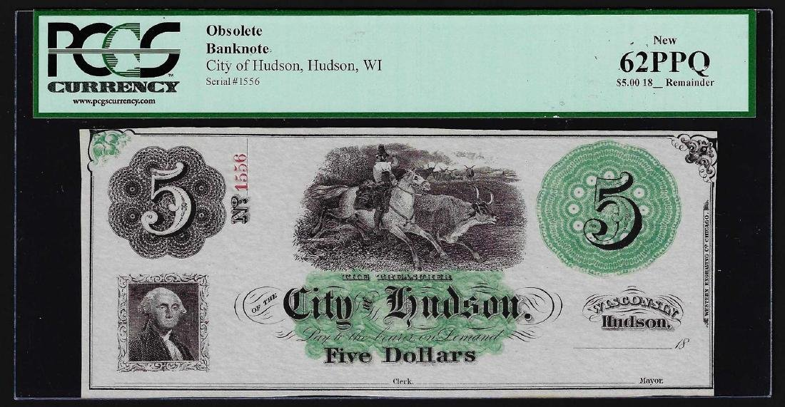 1800's $5 City of Hudson, WI Obsolete Bank Note PCGS