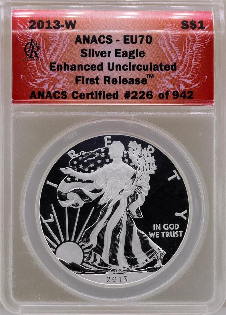 2013-W $1 American Silver Eagle Coin ANACS EU70