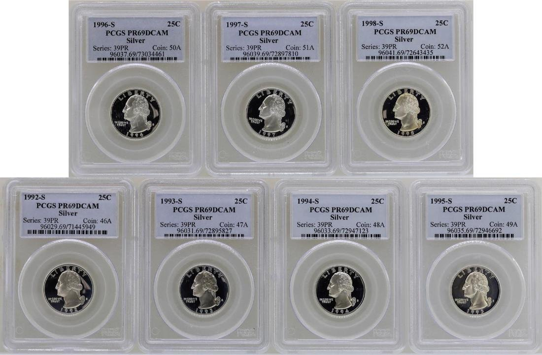 Lot of 1992-S to 1998-S State Silver Proof Quarter