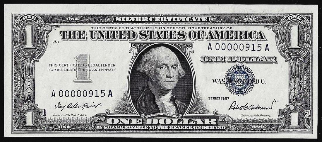 1957 $1 Silver Certificate Note Low Serial 3 Digit