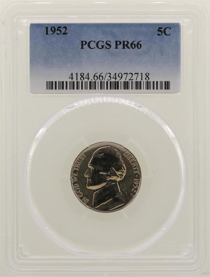 1952 Proof Jefferson Nickel Coin PCGS PR66