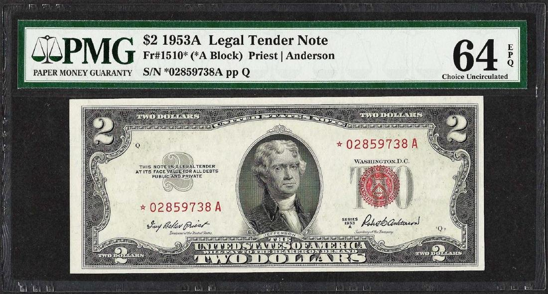 1953A $2 Legal Tender STAR Note PMG Choice Uncirculated
