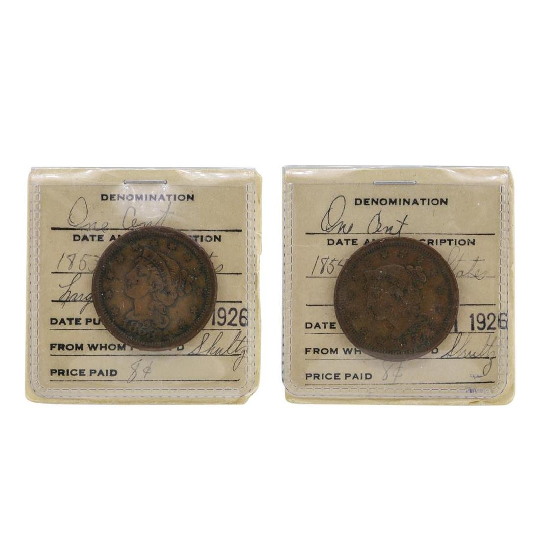 Lot of 1853 & 1854 Large One Cent Coins in Old Flip