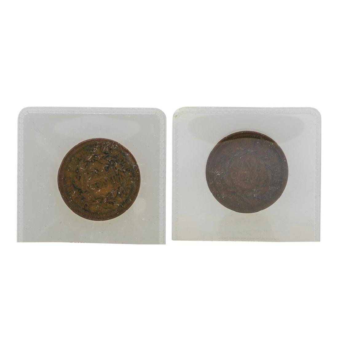 Lot of 1853 & 1854 Large One Cent Coins in Old Flip - 2