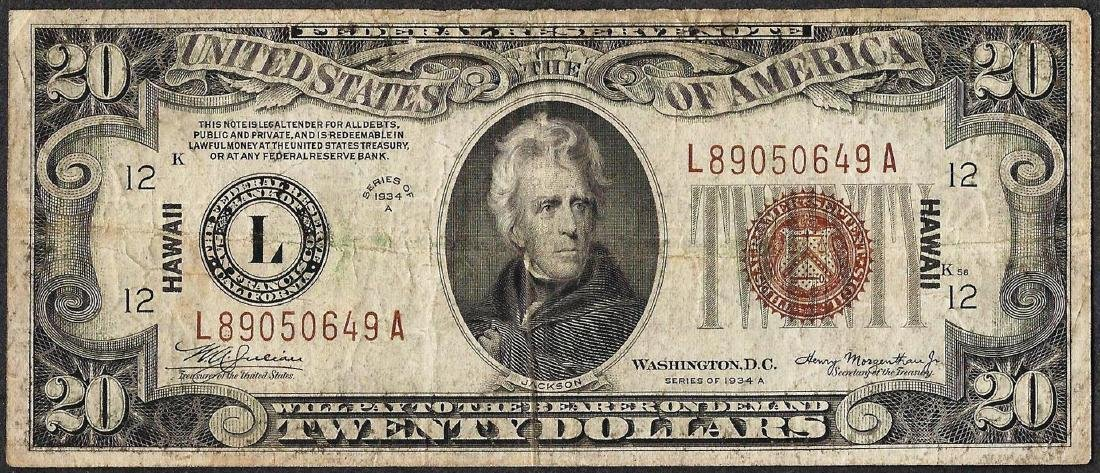 1934A $20 Federal Reserve WWII Emergency Hawaii Note