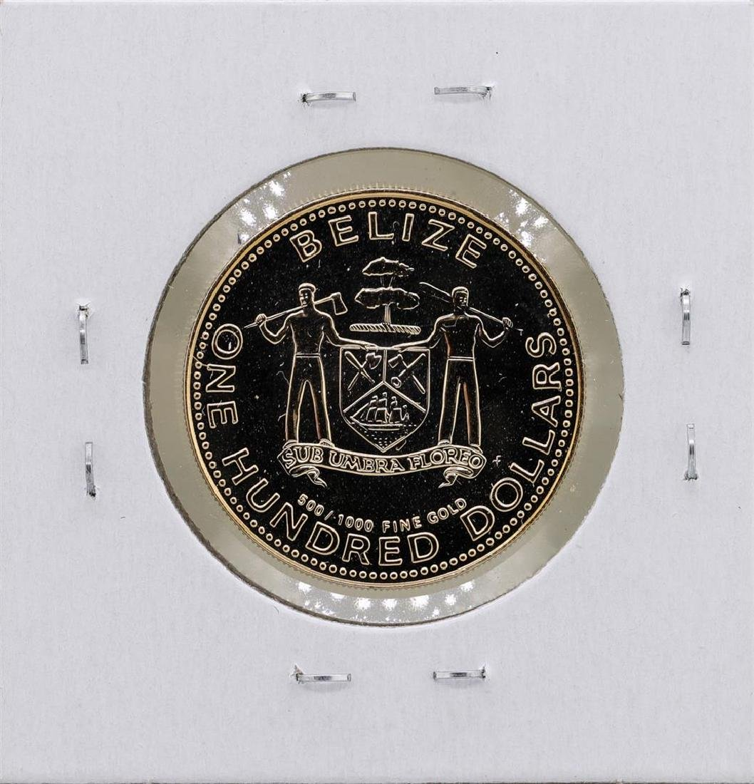 1980 Belize $100 1/10 oz. Gold Proof Coin - 2