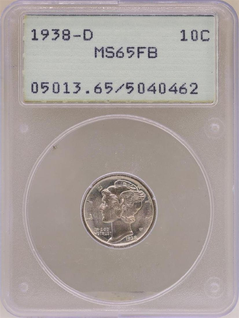 1938-D Mercury Dime Coin PCGS MS65FB