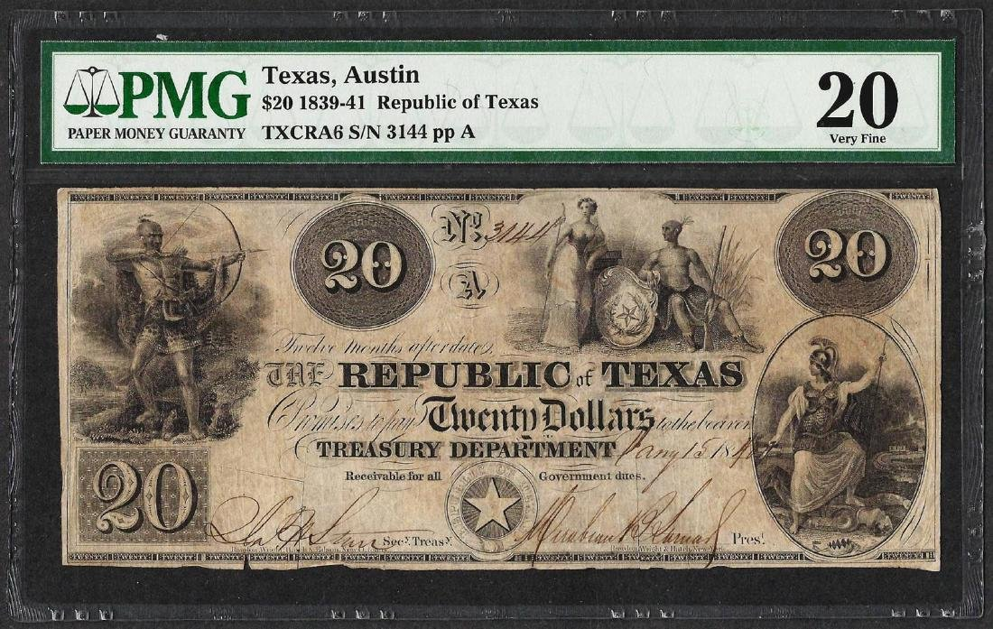 1839-41 $20 Republic of Texas Obsolete Note PMG Very