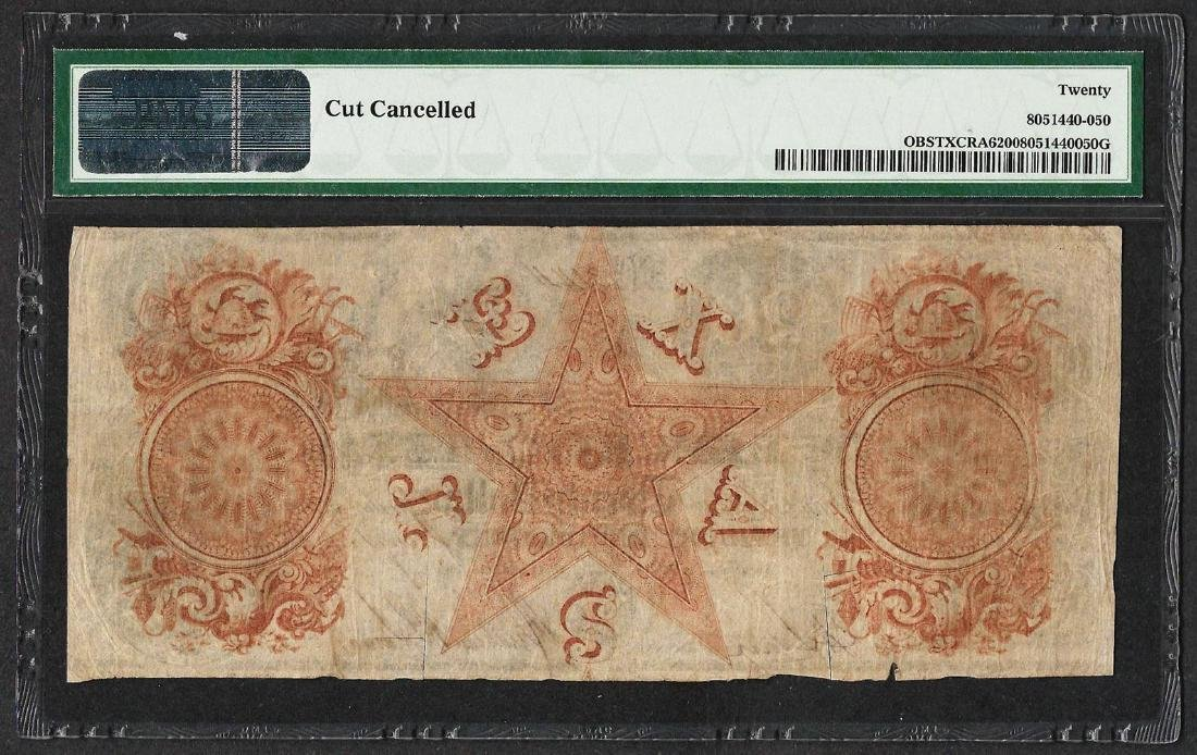 1839-41 $20 Republic of Texas Obsolete Note PMG Very - 2