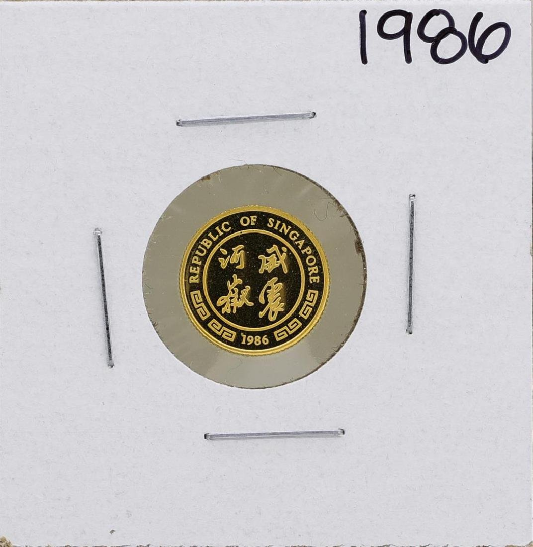 1986 Singapore 1/20 Oz. Gold Coin Year of the Tiger - 2