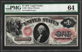 1875 $1 Legal Tender Note Fr.26 PMG Choice Uncirculated