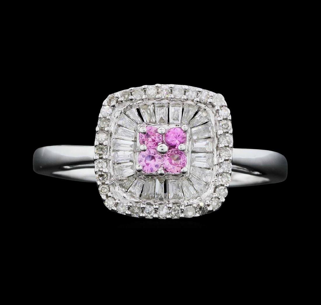 14KT White Gold Ladies 0.50 ctw Diamond and Pink