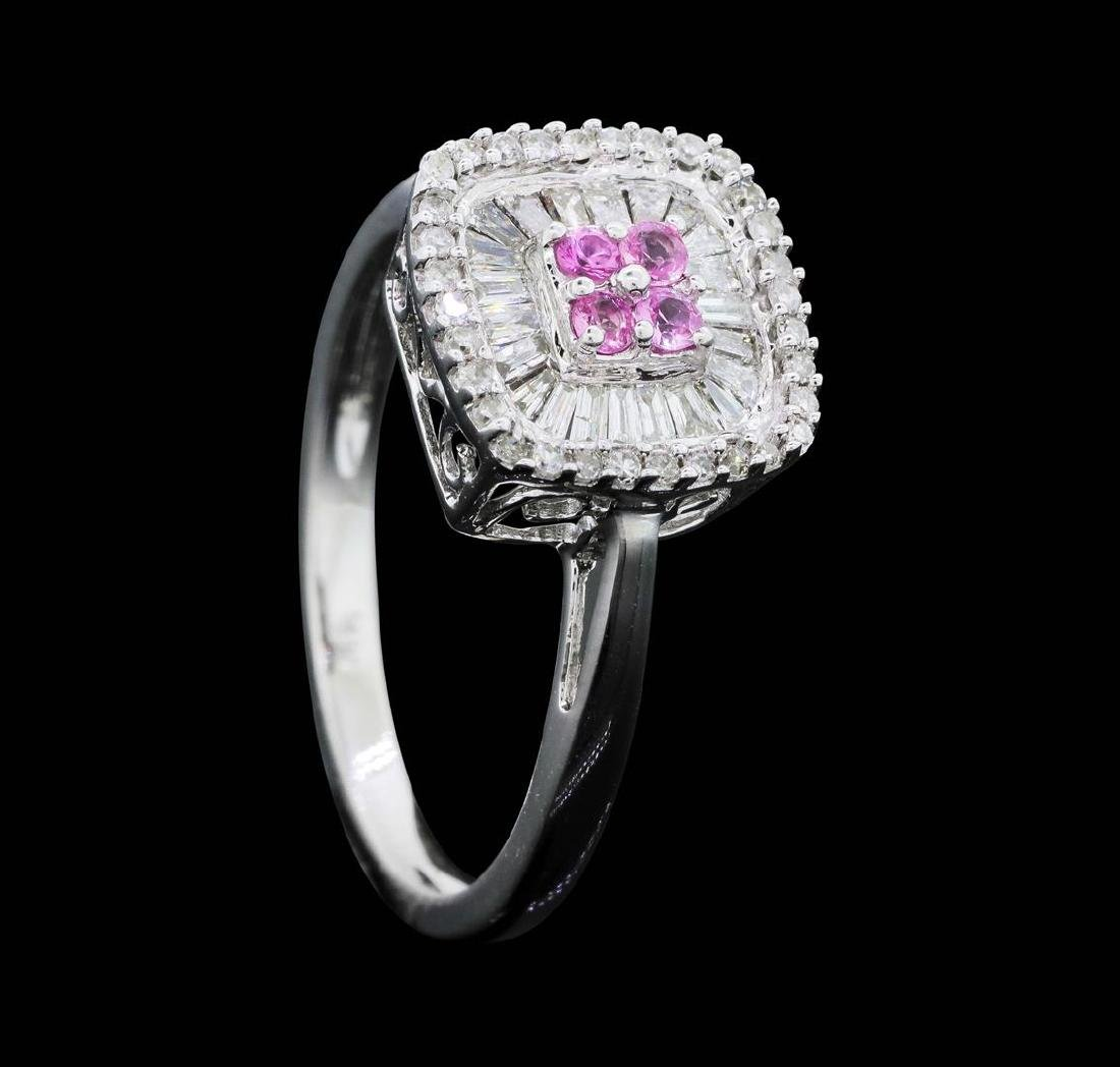 14KT White Gold Ladies 0.50 ctw Diamond and Pink - 4