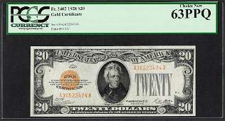 1928 $20 Gold Certificate Note Fr.2402 PCGS Choice New