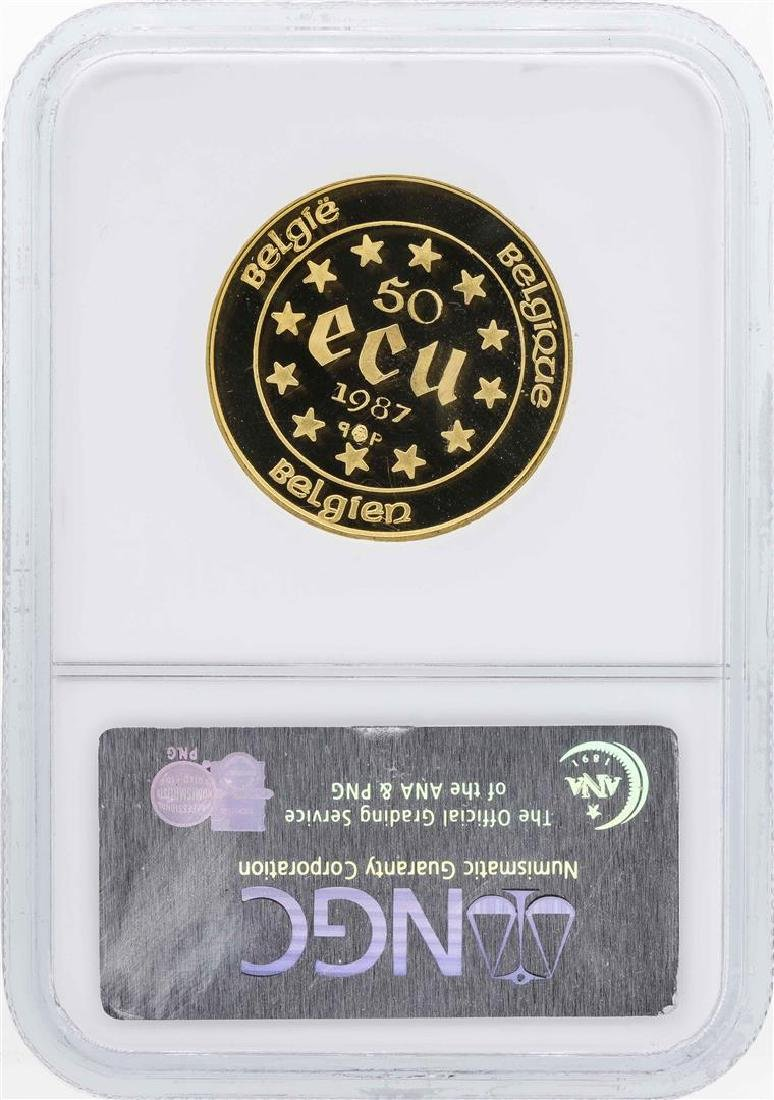 1987 Belgium 50 Ecu 1/2 Oz. Gold Coin NGC PF69 Ultra - 2