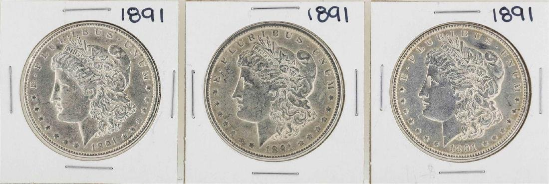 Lot of (3) 1891 $1 Morgan Silver Dollar Coins